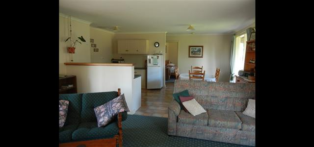 Interior of Ruby Cottage from lounge to dining area